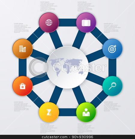 Vector illustration infographics eight options. stock vector clipart, Vector illustration infographics eight options. Stock vector by Amelisk