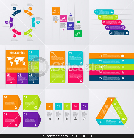 Stock Vector set of infographics stock vector clipart, Stock Vector set of infographics . A set of nine templates. by Amelisk