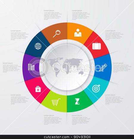 Vector illustration infographics ten options. stock vector clipart, Vector illustration infographics ten options. Stock vector by Amelisk