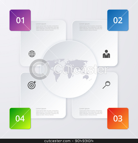 Vector illustration infographics four options stock vector clipart, Vector illustration of four square infographics. Stock vector by Amelisk