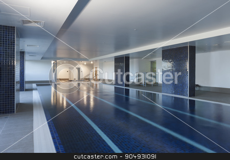 Luxurious pool stock photo, Iamge of a luxurious pool with four swimming tracks by JRstock