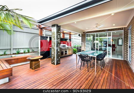 Beautiful outside view of house with dining table  stock photo, Beautiful outside view of house with dining table by JRstock