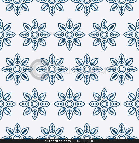 Vector illustration of a linear design stock vector clipart, Vector illustration of a seamless pattern of flowers. by Amelisk