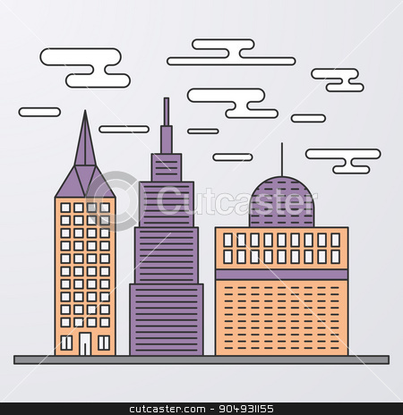 Vector illustration of a linear design stock vector clipart, Vector illustration of a linear design city. by Amelisk