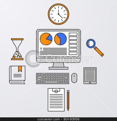 Vector illustration of a linear design stock vector clipart, Vector illustration of a linear design computer, clock, tablet. by Amelisk