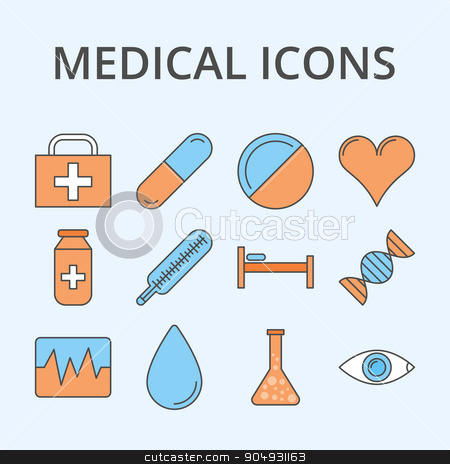 Vector illustration of a linear design stock vector clipart, Vector illustration of a set of medical icons. Stock vector by Amelisk