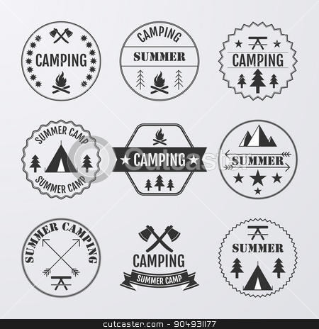 Vector illustration set of logos stock vector clipart, Vector illustration set of logos on the theme of camping. by Amelisk
