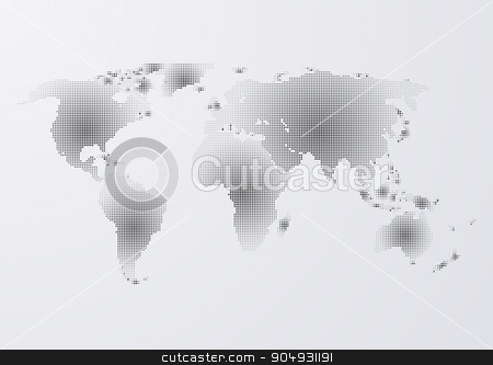 Vector illustration of a world map stock vector clipart, Vector illustration of a world map of dots. by Amelisk