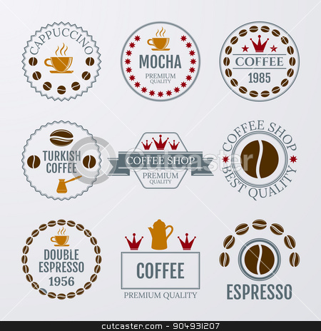 Vector illustration set of logos stock vector clipart, Vector illustration set of logos on coffee theme. by Amelisk