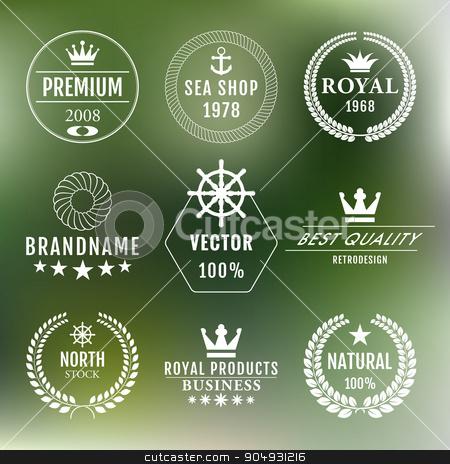 Vector illustration set of logos stock vector clipart, Vector illustration set of logos. Stock vector by Amelisk