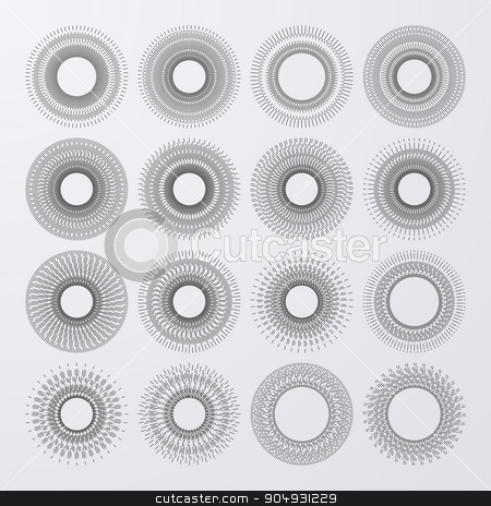 Vector illustration. Set bursting rays stock vector clipart, Vector illustration of a set of elements. by Amelisk