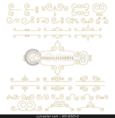 Vector illustration. Luxury linear design elements stock vector clipart, Vector illustration of a set of elements. by Amelisk