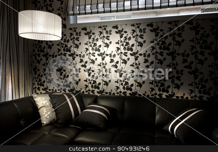 A stylish and romantic moody  image of a room with sofa and cush stock photo, A stylish and romantic moody  image of a room with sofa and cushions placed on it by JRstock