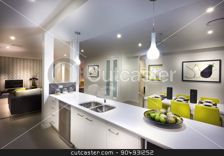 A moody,stylish and beautiful  image of a house with kitchen and stock photo, A moody and stylish image of a house with kitchen and attached living room and food placed on kitchen shelf by JRstock
