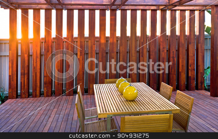 A beautiful picture of dining table stock photo, A beautiful picture of dining table with wooden floor by JRstock