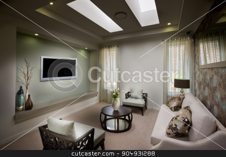 A beautiful decent moody living room with a tv stock photo, A beautiful decent moody living room with a tv,sofas and chairs and cushions on sofas along with curtains on windows of living room by JRstock