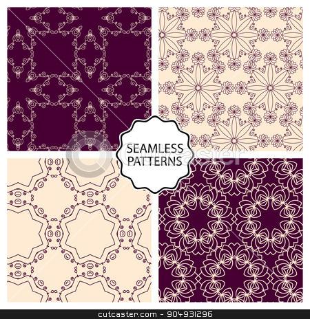 Vector illustration. Set of seamless line patterns stock vector clipart, Vector illustration. Set of seamless line patterns. by Amelisk