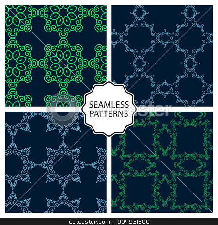 Vector illustration. Set of seamless line patterns stock vector clipart, Vector illustration. Set of seamless line patterns. by Amelisk