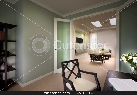 A beautiful picture of living room from the doors stock photo, A beautiful picture of living room from the doors with a  tv fixed in wall and chairs and sofas in living room by JRstock