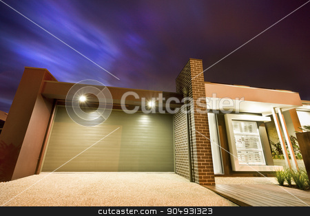 Beuatiful close up picture of garage of home stock photo, Beuatiful close up picture of garage of home in night by JRstock