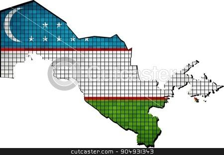Uzbekistan map with flag inside stock vector clipart, Uzbekistan map with flag inside, Abstract Mosaic Flag and map of Uzbekistan,  Abstract grunge mosaic vector  by Jugoslav