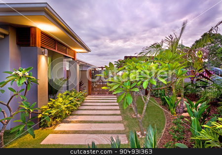 Beautiful picture of a house lawn stock photo, Beautiful picture of a house lawn. by JRstock