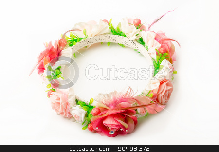 forest coronal or colorful fake flower crown. stock photo, forest coronal or colorful fake flower crown isolated on white background by Miss. PENCHAN  PUMILA