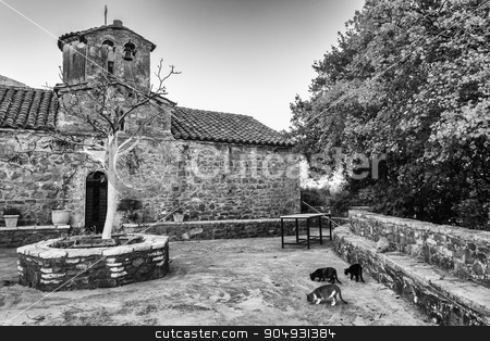 Monastery of the Philosopher, Philosophou, Dimitsana stock photo, The New Philosophou Monastery was founded in 1691. The monastery with the remarkable carven chancel screen is located on the west side of Loussios Gorge. by ANTONIOS KARVELAS