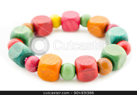 colorful wooden beads bracelet. stock photo, colorful wooden beads bracelet isolated on white background. by Miss. PENCHAN  PUMILA