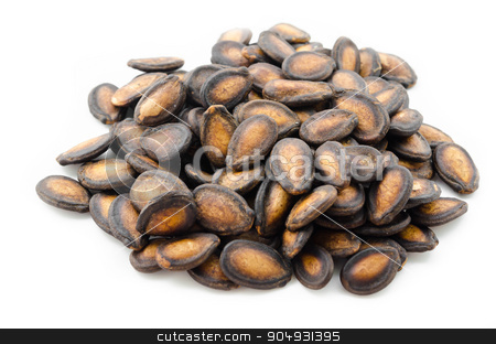 Black Melon Seeds. stock photo, Dry Black Melon Seeds on white background by Miss. PENCHAN  PUMILA