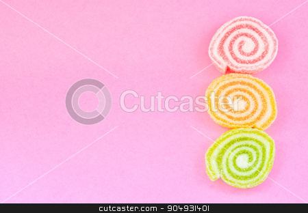 Jelly sweet, flavor fruit, candy dessert colorful. stock photo, Jelly sweet, flavor fruit, candy dessert colorful with copy space on pink background. by Miss. PENCHAN  PUMILA