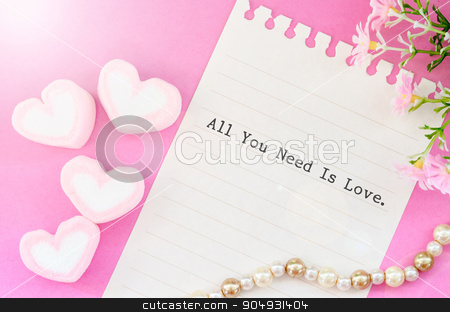 All you need is love  stock photo, All you need is love with sweet heart shape of pink marshmallows with flower on pink background. by Miss. PENCHAN  PUMILA