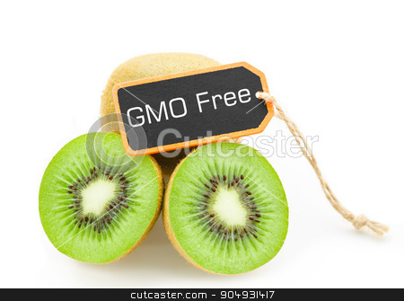 Slice of fresh kiwi fruit without GMO. stock photo, Slice of fresh kiwi fruit without GMO on black wooden tag isolated on white background by Miss. PENCHAN  PUMILA