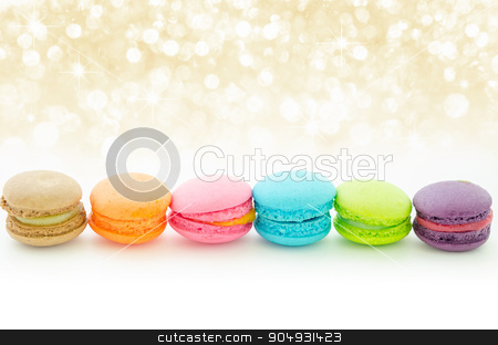 Colorful macaroons on white. stock photo, Colorful macaroons on white with beautiful abstract bokeh light. by Miss. PENCHAN  PUMILA