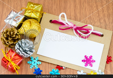 Christmas card. stock photo, Christmas card with space and christmas decoration by Miss. PENCHAN  PUMILA