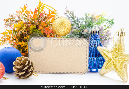 Blank tag paper and decoration christmas. stock photo, Blank tag paper and decoration christmas on white background. by Miss. PENCHAN  PUMILA