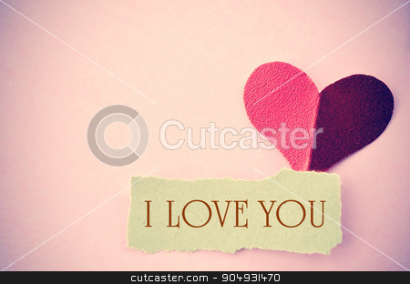 I love you message. stock photo, I love you message on vintage paper with copy space. Love concept. by Miss. PENCHAN  PUMILA