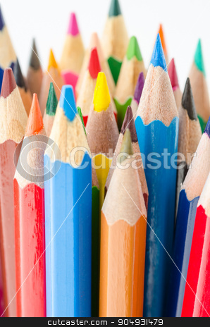 Close up of color pencils with different color. stock photo, Close up of color pencils with different color on white background by Miss. PENCHAN  PUMILA