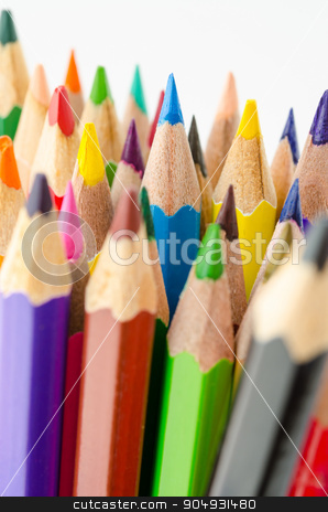 Colouring crayon pencils  stock photo, Focus blue color and Colouring crayon pencils isolated on white background by Miss. PENCHAN  PUMILA