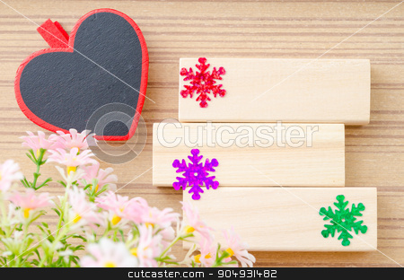 Blank wooden tag red heart shape. stock photo, Blank wooden tag red heart shape and blank wooden tag with flower for your text on wooden background. by Miss. PENCHAN  PUMILA