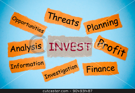 Invest concept stock photo, Invest concept word on torn paper color on blue background. business concept. by Miss. PENCHAN  PUMILA