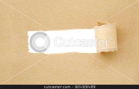 Brown Torn Paper stock photo, Brown Torn Paper with space for text with white background save clipping path. by Miss. PENCHAN  PUMILA