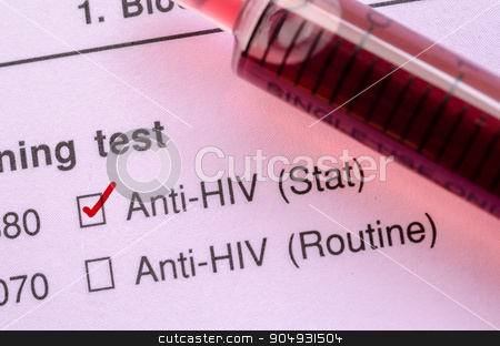 Red correct check mark with blood sample for HIV test. stock photo, Red correct check mark with blood sample in syringe for HIV test form request. by Miss. PENCHAN  PUMILA