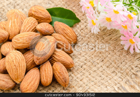 Almonds  stock photo, Almonds with pink flower on sack background. by Miss. PENCHAN  PUMILA