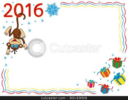 Funny Monkey on the greeting card stock vector clipart, Greeting card with Funny Monkey that hook by the tail for the digit of inscription 2016 and hangs on it, cartoon vector artwork on the background with frame and gits by Nataliia