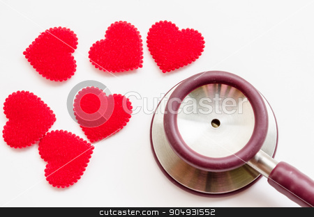 Red heart and a stethoscope stock photo, Red heart and a stethoscope on white background. by Miss. PENCHAN  PUMILA