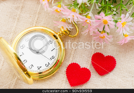 Time and Love concept. stock photo, Gold pocket watch and red heart with flower on sack background. Love concept. by Miss. PENCHAN  PUMILA