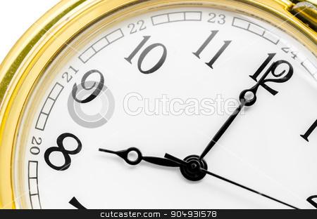 gold pocket watch at 8 AM. stock photo, Close up face gold pocket watch at 8 AM. by Miss. PENCHAN  PUMILA