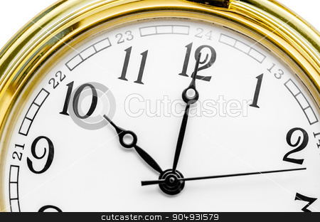 Close up of an Old clock face stock photo, Close up of an Old gold clock face at 10 AM. by Miss. PENCHAN  PUMILA