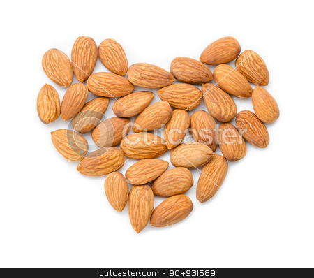 Almond heart shape. stock photo, Almond heart shape isolated on white background by Miss. PENCHAN  PUMILA